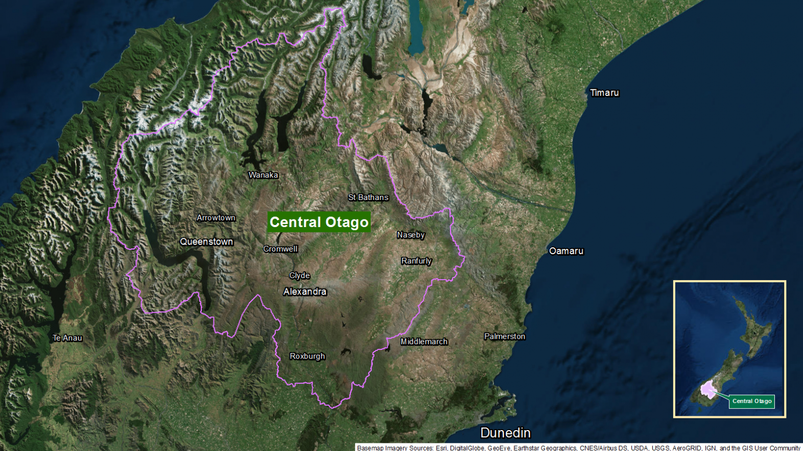Map of area: Central Otago GI static map v1.0
