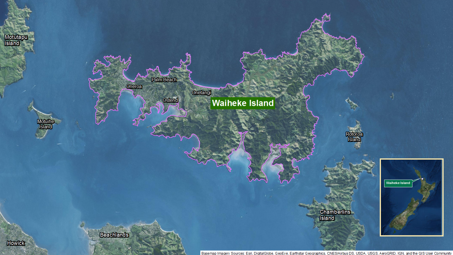 Map of area: Waiheke Island GI static map v1.0