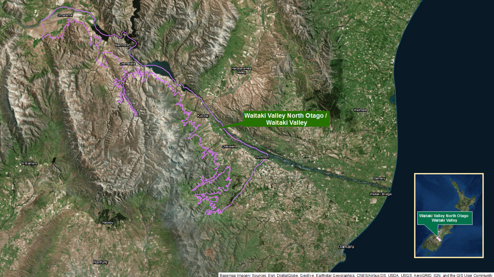 Map of area: Waitaki Valley North Otago GI static map v1.0