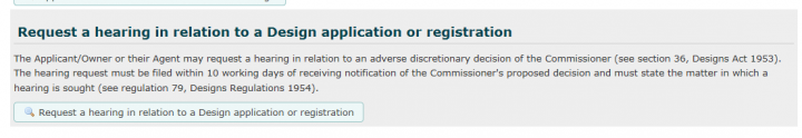 Request a hearing in relation to a Design application or registration