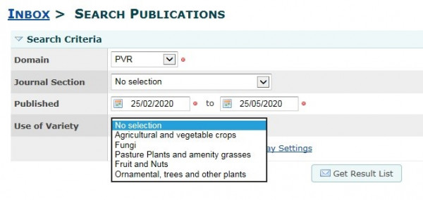 Search publications tool example
