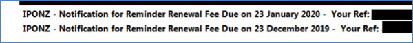 Renewal fee reminders will now include the renewal due date