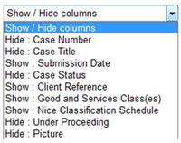 Show or hide columns in search results - dropdown menu screenshot