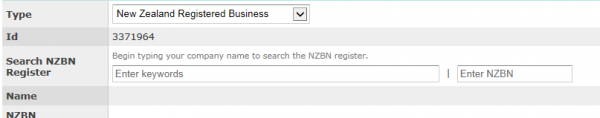 Screenshot of Creating a new client ID screen with NZBN search integrated