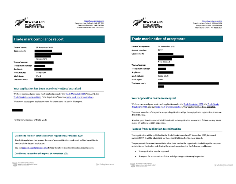 Sample trade mark compliance report and notice of acceptance letters